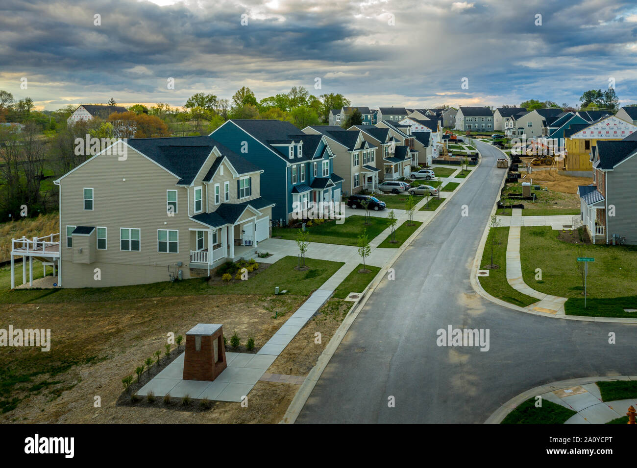 Aerial landscape of typical American new construction neighborhood in Maryland for the upper middle class, single family homes real estate Stock Photo