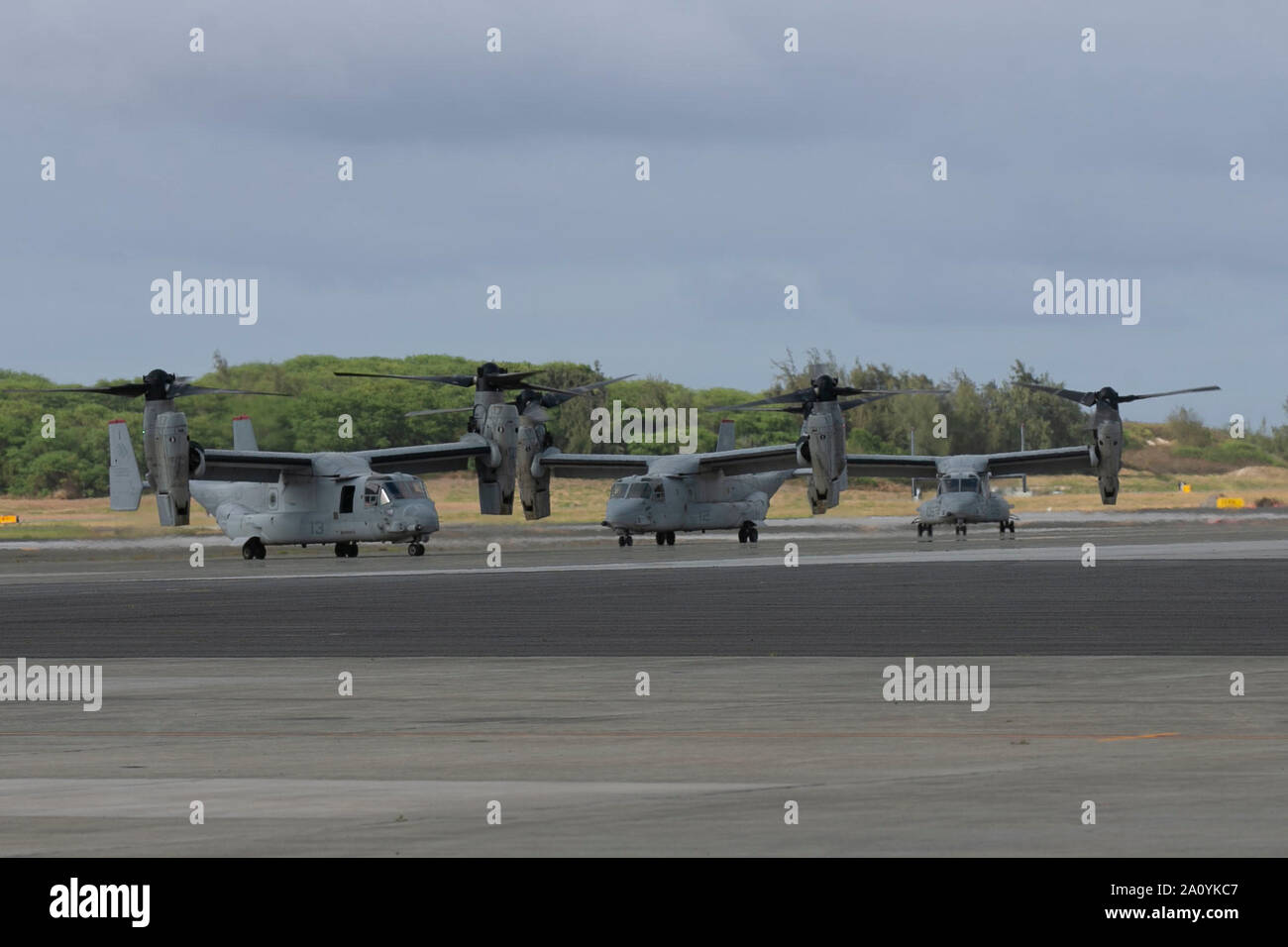 U.S. Marines with Marine Medium Tiltrotor Squadron 363, 1st Marine Aircraft Wing, complete a Trans-Pacific flight from Darwin, Australia following a six-month deployment, landing MV-22 Ospreys on Marine Corps Base Hawaii, September 19, 2019. VMM-363 conducted the flight to improve and refine MV-22 Osprey operations that have been developed over the past three Marine Rotational Force-Darwin iterations. (U.S. Marine Corps photo by Lance Cpl. Jacob Wilson) Stock Photo