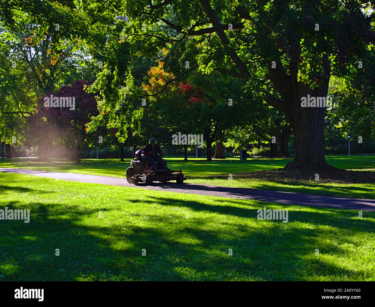 A ride-on lawn mower races down the path, trailing a cloud of dust in the early evening sun, Commissioners Park, Ottawa, Ontario, Canada. Stock Photo