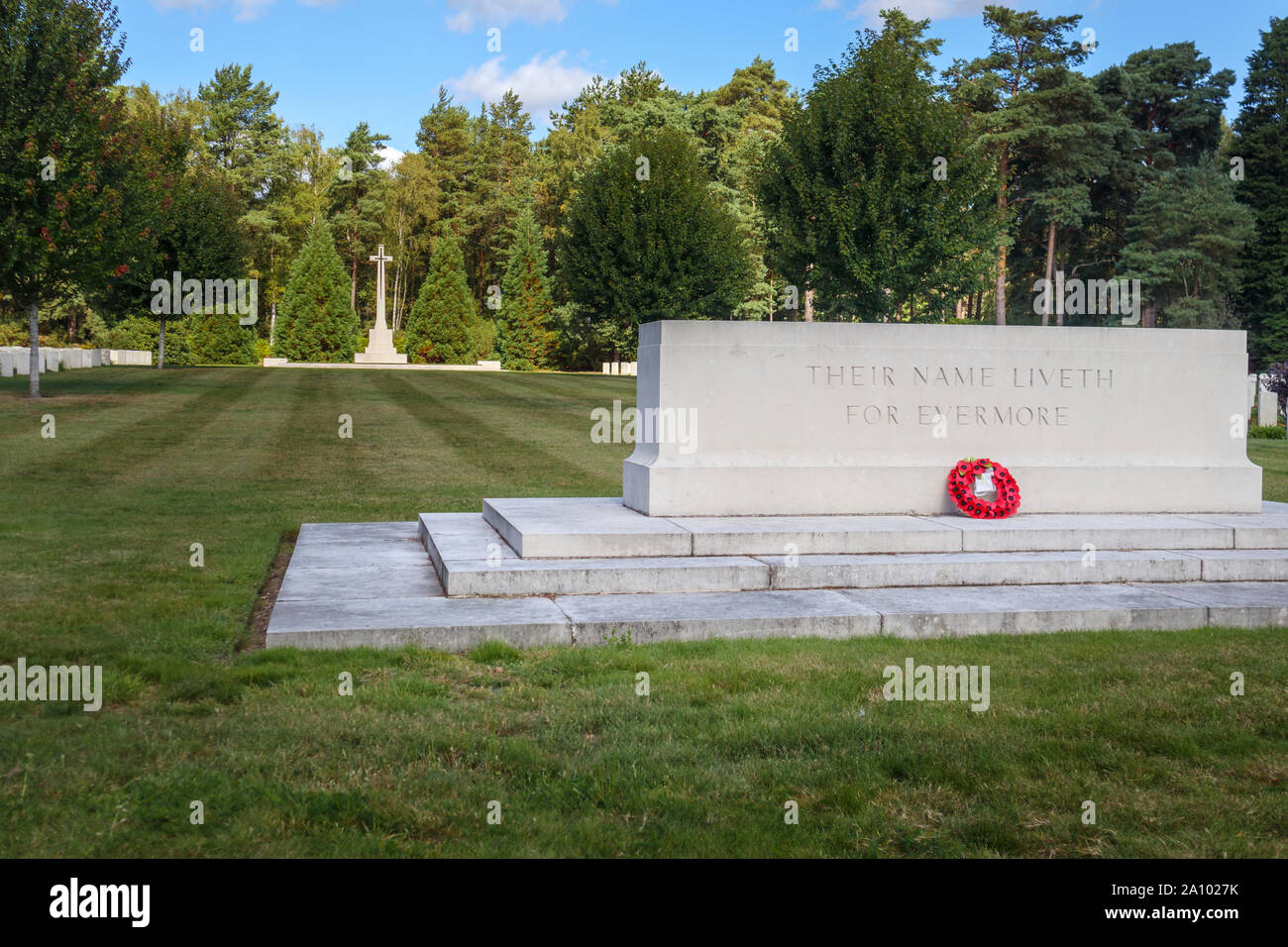 Memorial, gravestones and cross in the Canadian Section of the Military Cemetery at Brookwood Cemetery, Pirbright, Woking, Surrey, southeast England Stock Photo