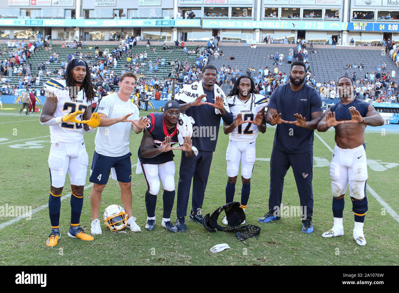 Carson Ca 22nd Sep 2019 The Former University Of Miami Players Los Angeles Chargers Defensive Back Rayshawn Jenkins 23 Los Angeles Chargers Kicker Mike Badgley 4 Houston Texans Running Back Duke Johnson
