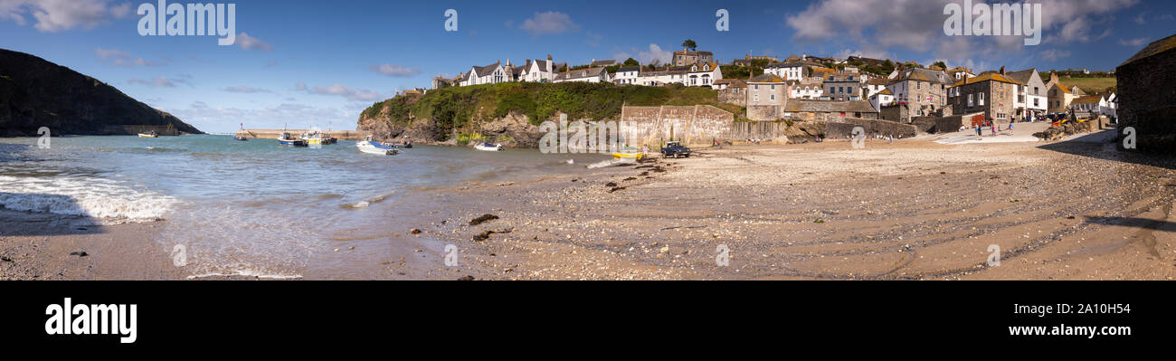 Panoramic view of Port Isaac on the North Cornwall coast Stock Photo