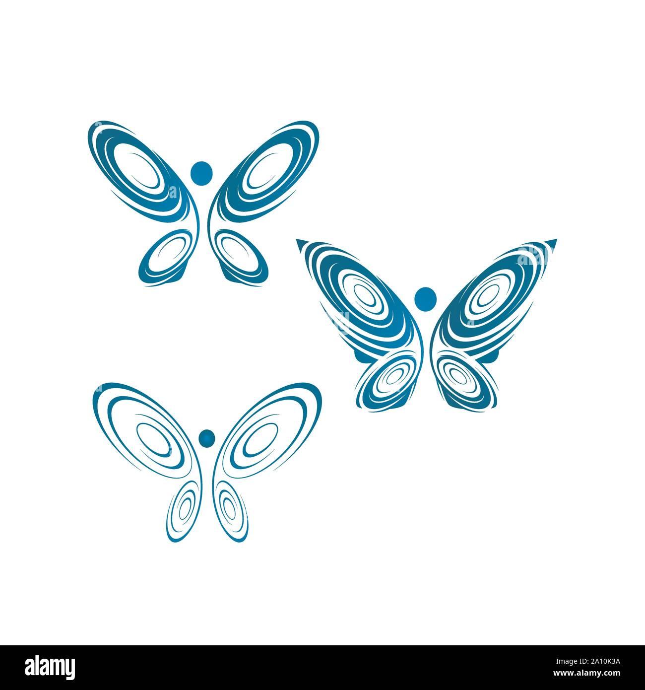 abstract butterflies a Beauty Butterfly logo design template Vector illustration Stock Vector