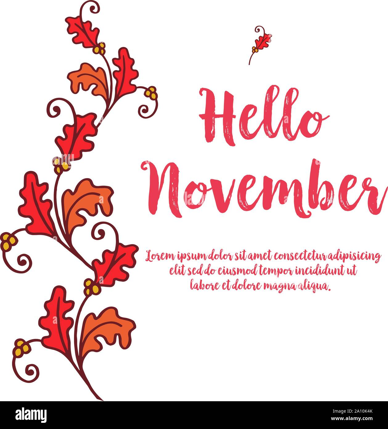 Card Hello November With Wallpaper Art Of Autumn Leaves