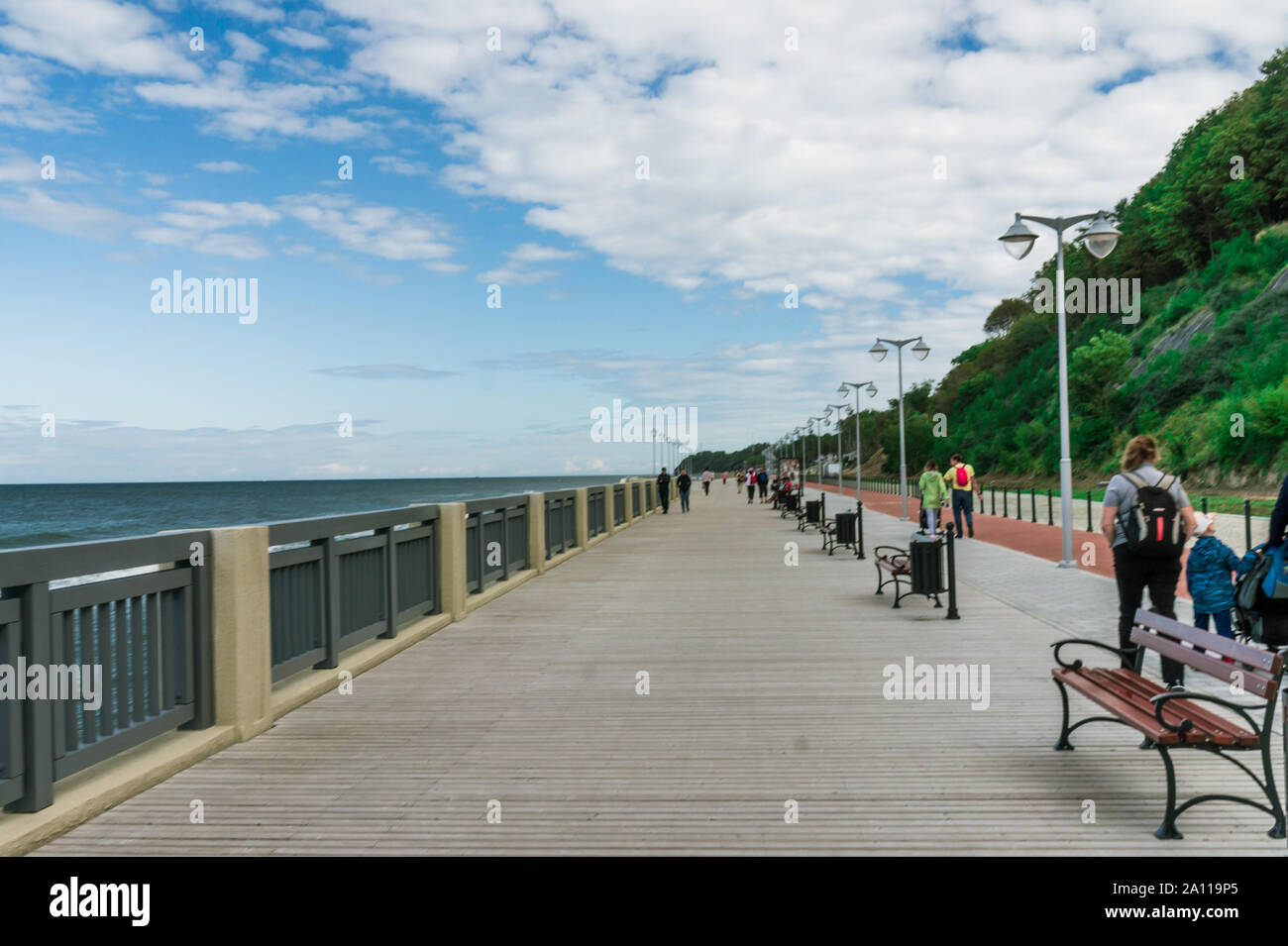Promenade with wooden flooring in Svetlogorsk. Baltic sea. Landscape in the Kaliningrad region. Stock Photo