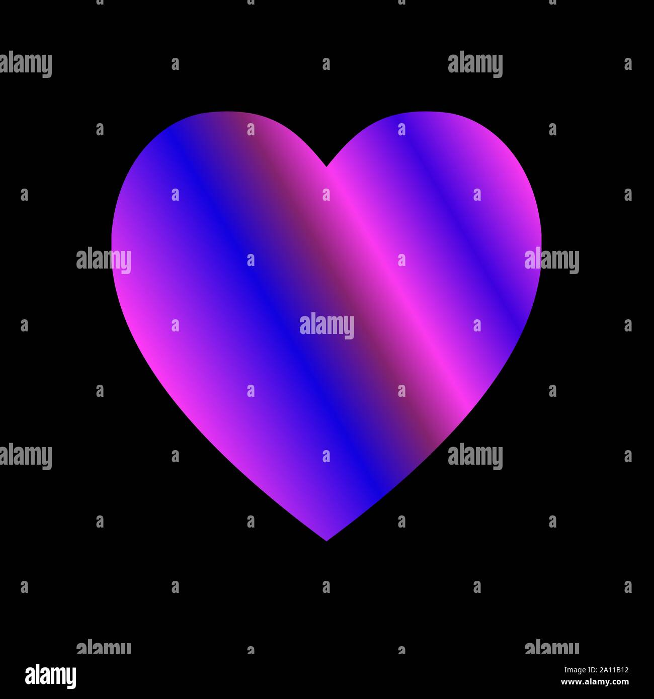 Gradient Purple And Pink Heart On Black Background Colorful Heart