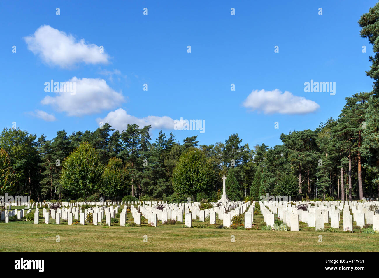 Gravestones in the Canadian Section of the Military Cemetery at Brookwood Cemetery, Pirbright, Woking, Surrey, southeast England, UK Stock Photo