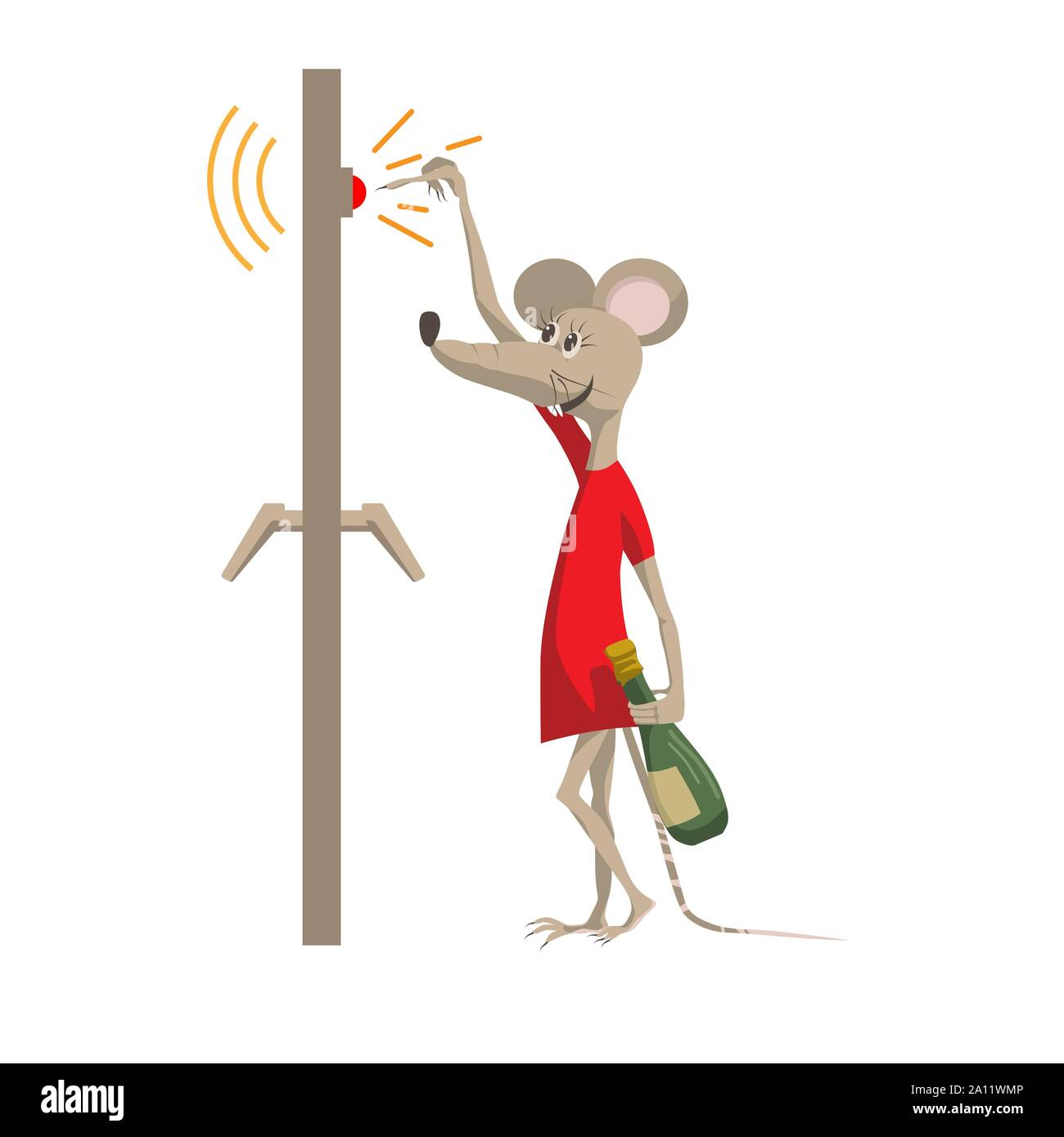Funny mouse with a bottle of champagne rings the doorbell. The symbol of the New Year 2020. Cartoon character in a flat style vector illustration. Stock Vector