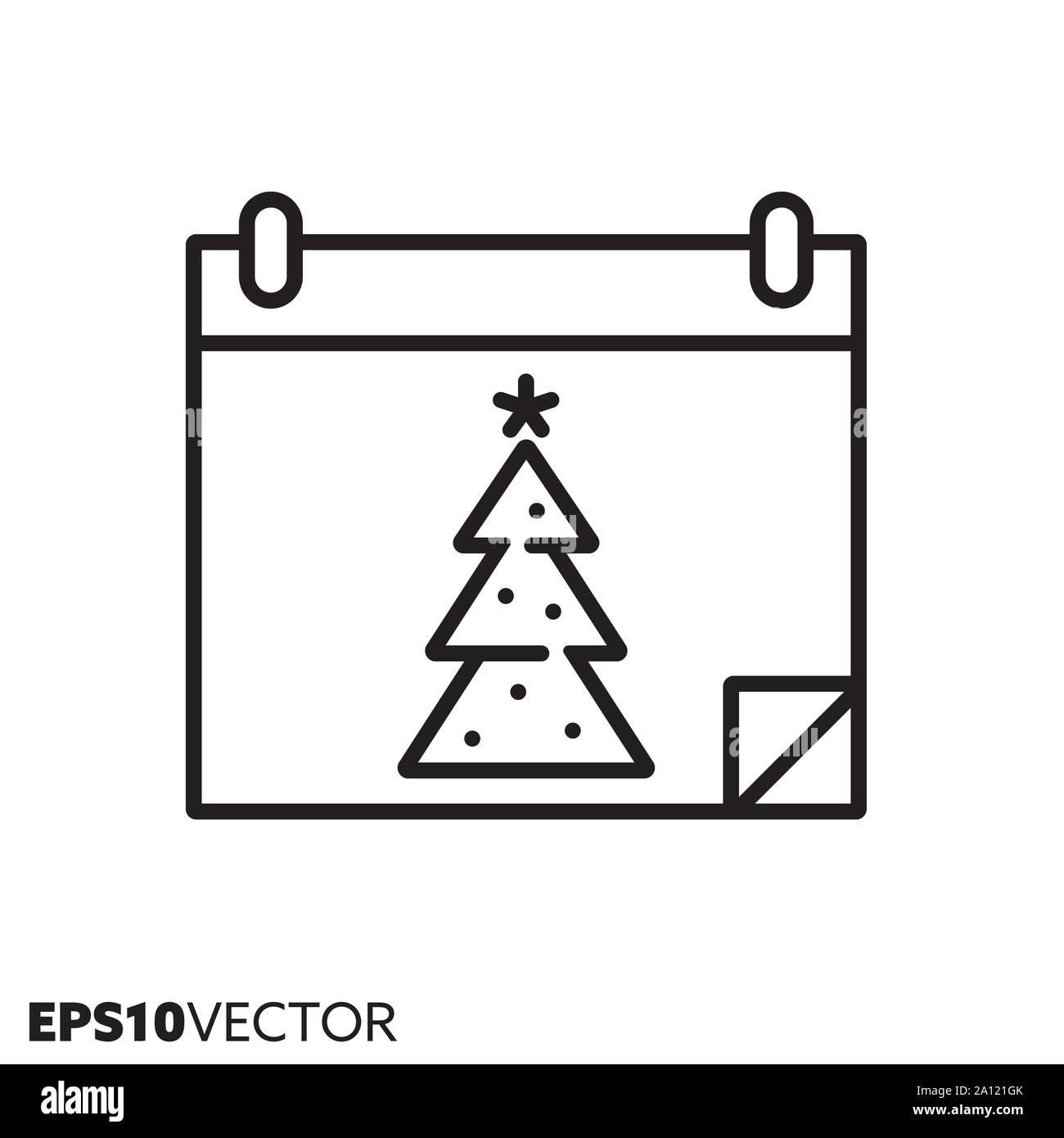 Christmas Holidays Icon.Christmas Tree On Calendar Line Icon Outline Symbol Of
