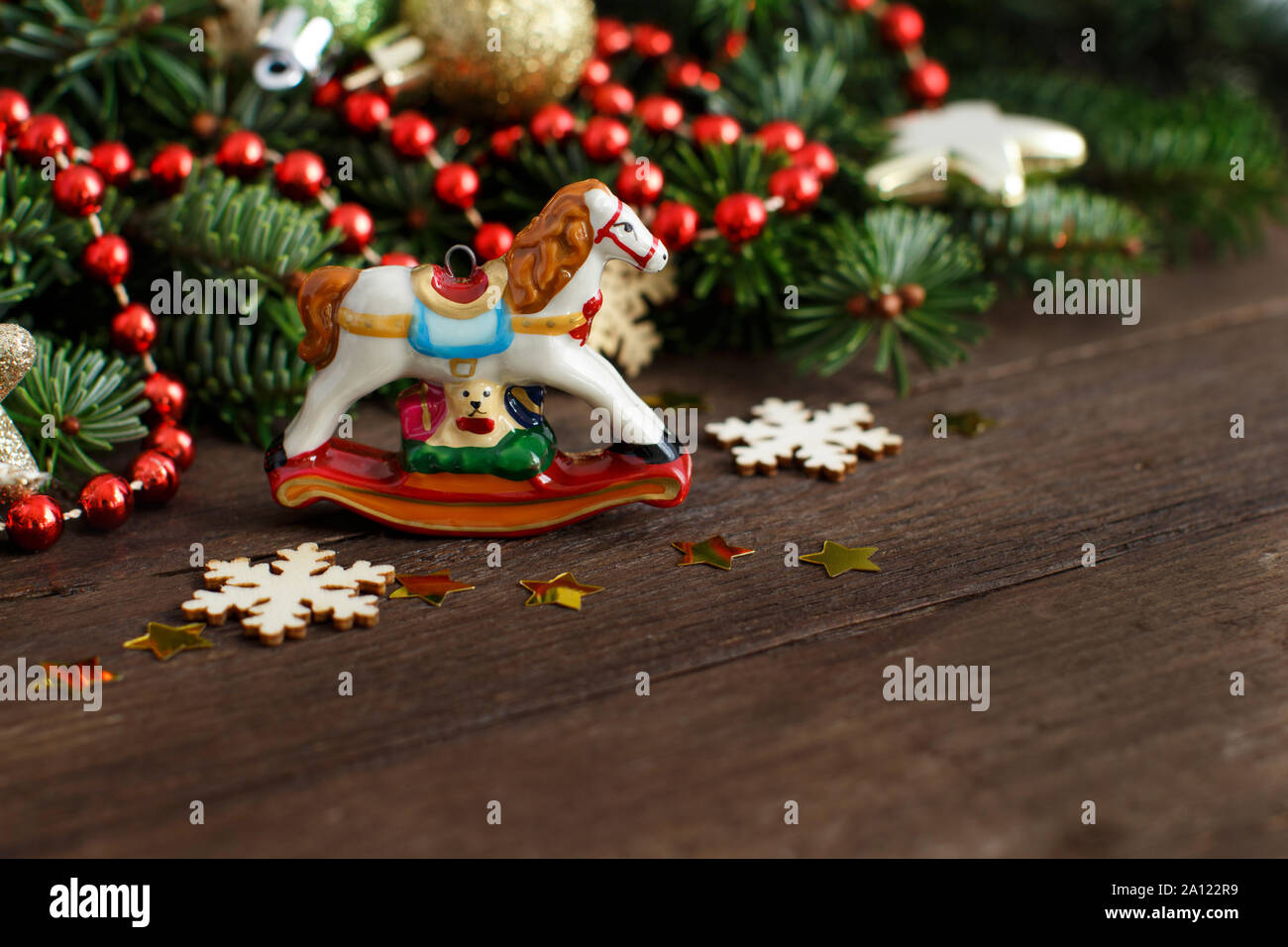 Wall Hanging Decorations Rocking Horse Christmas Tree Decoration White Wooden Shabby Chic Hanging Bauble Home Furniture Diy Crazyteen Vn