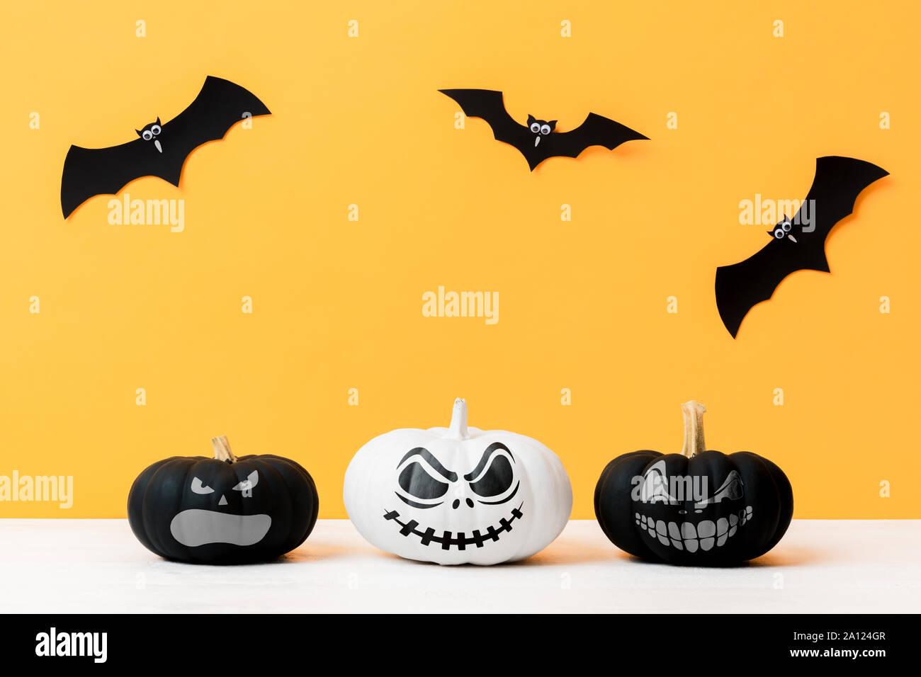 Halloween Harvest Fruits  Witch Bats Cats Yellow Moon Jack O Lanterns