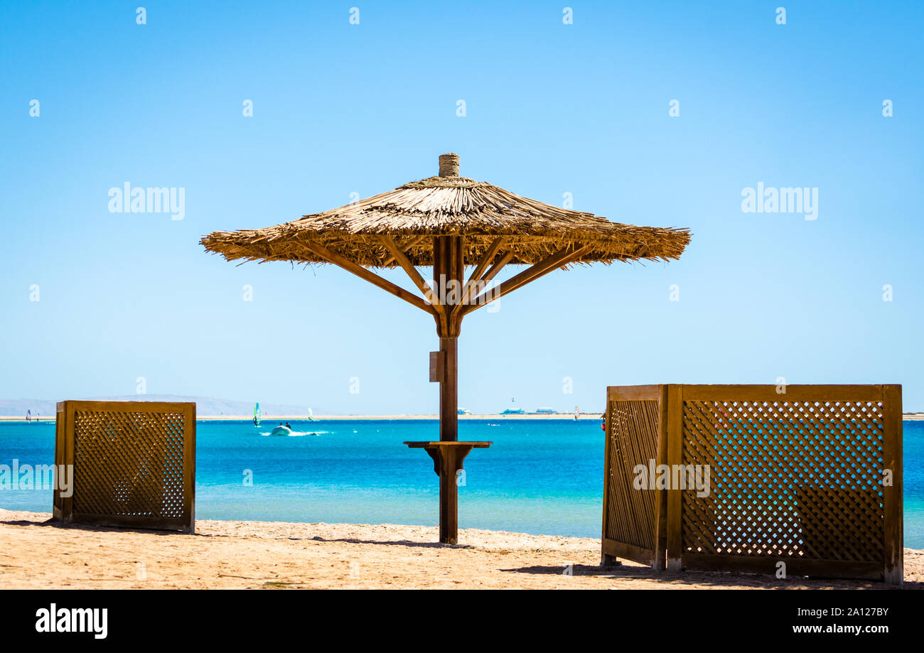 Reed Beach Umbrella On The Background Of The Sea And A Clear Sky In Egypt Stock Photo Alamy