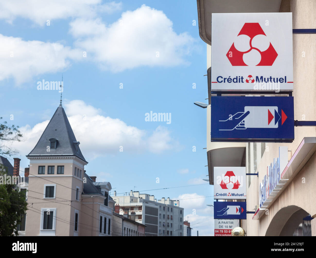 Lyon France July 15 2019 Credit Mutuel Logo In Front Of