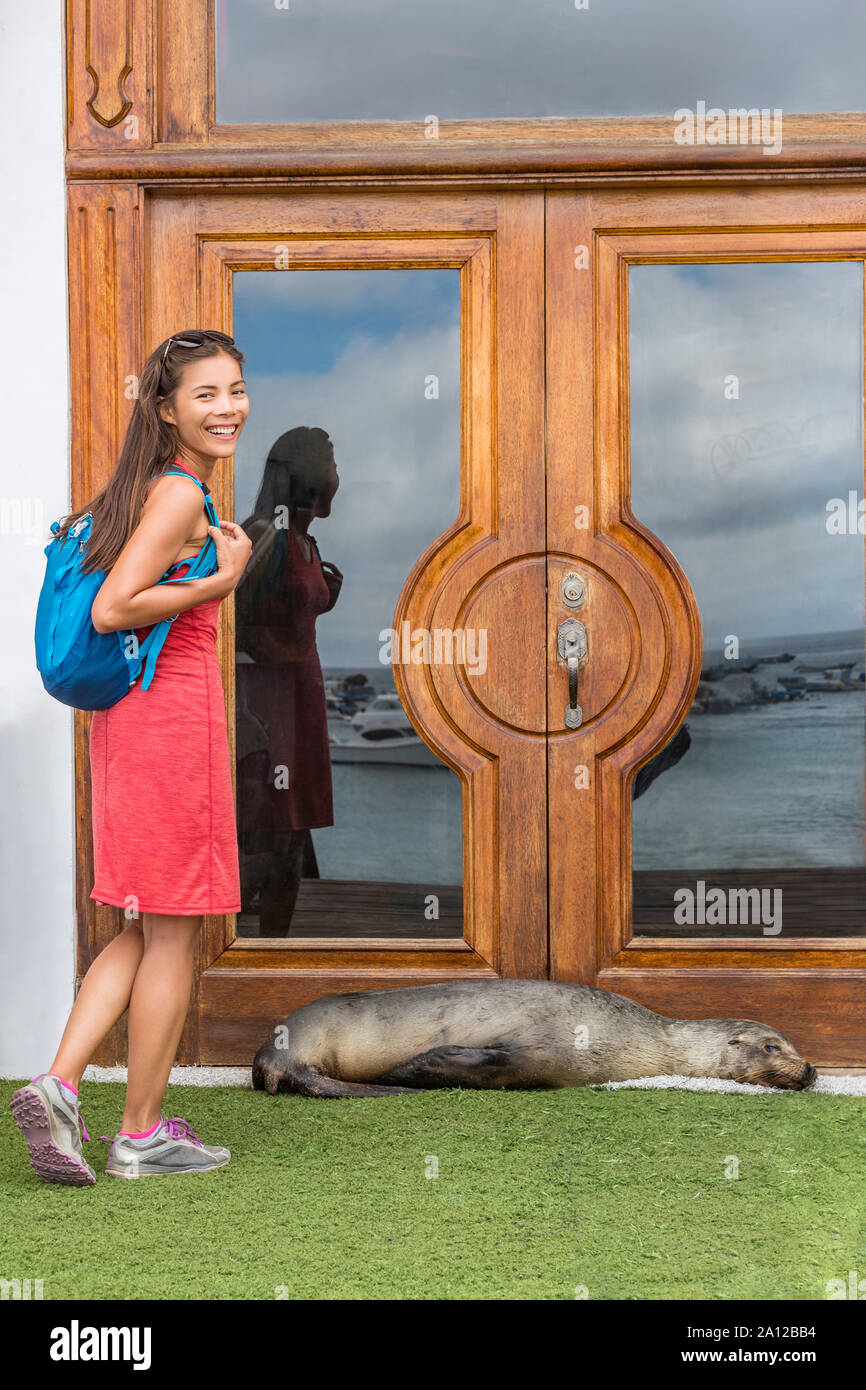 Galapagos Tourist Funny Image With Sea Lion Blocking Door To