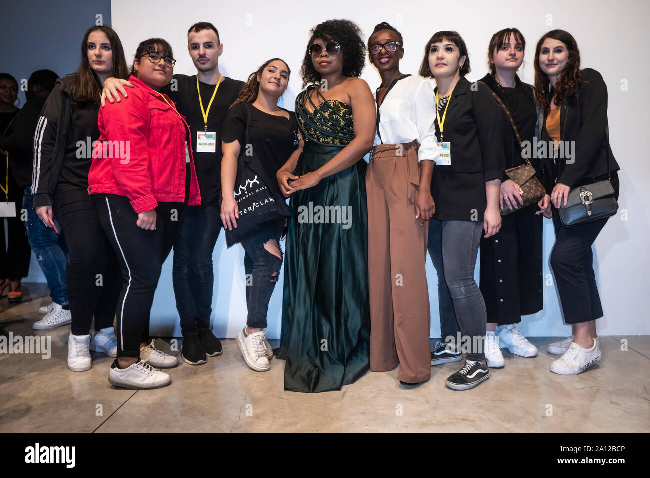 Michelle Francine Ngonmo President Of Afro Fashion And Ruth Akutu Maccarthy Vice President Pose For A Photo With Makeup Artists During The Event The Fourth Edition Of The Afro Fashion Week Organised By Michelle