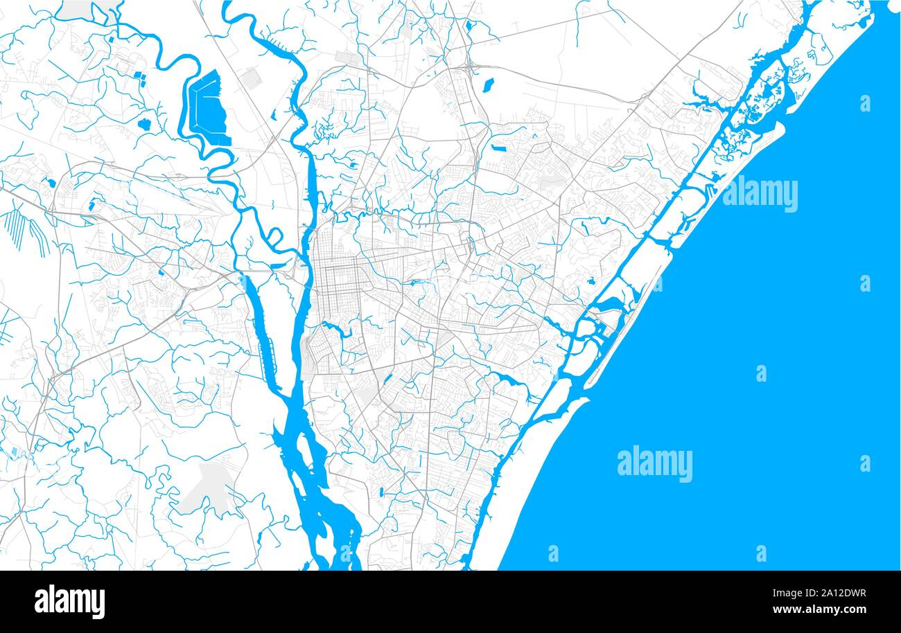 Rich detailed vector area map of Wilmington, North Carolina ...