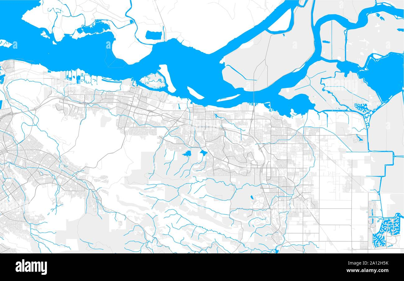 Rich detailed vector area map of Antioch, California, USA ...