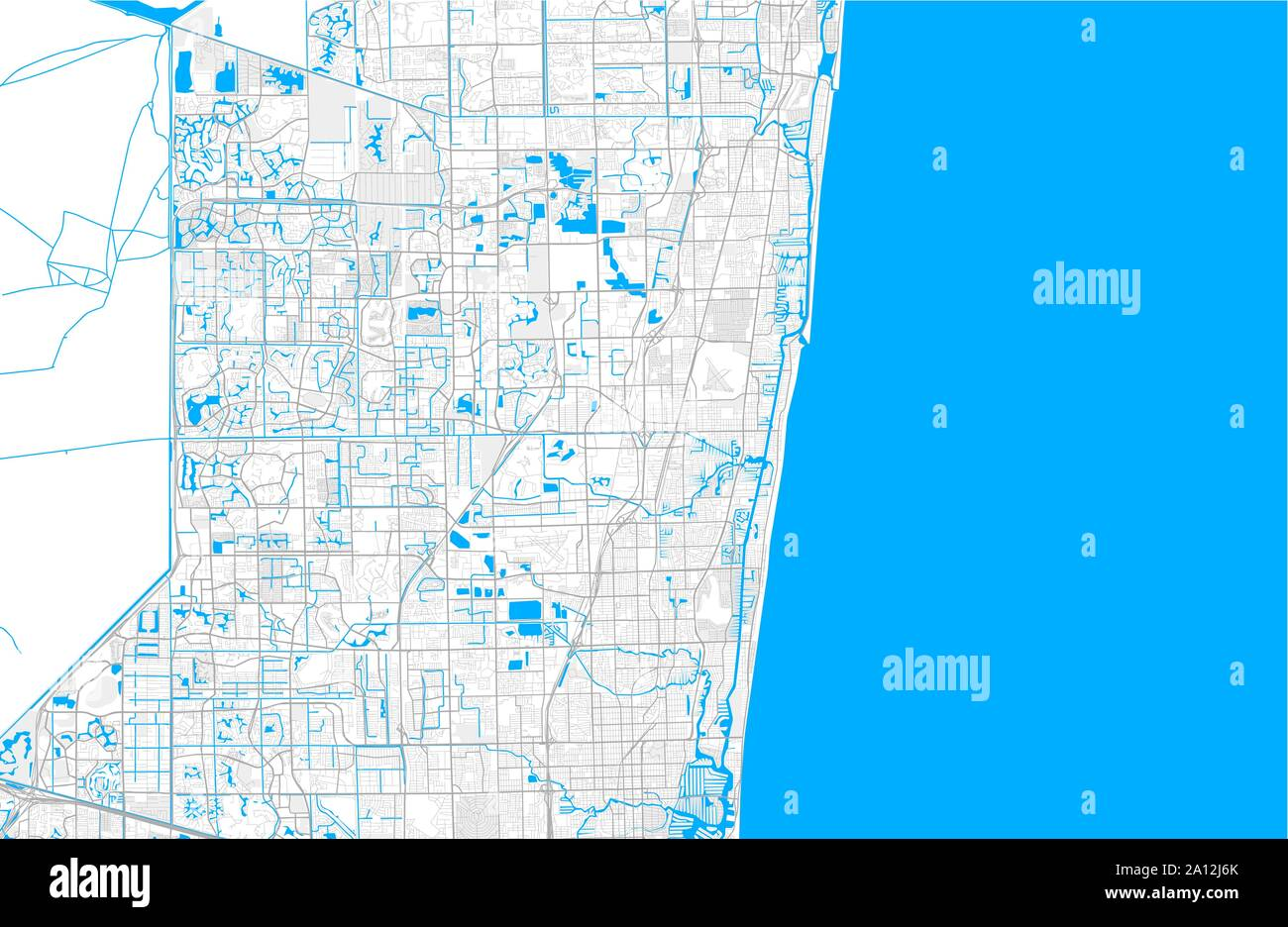 Rich detailed vector area map of Pompano Beach, Florida, USA ...