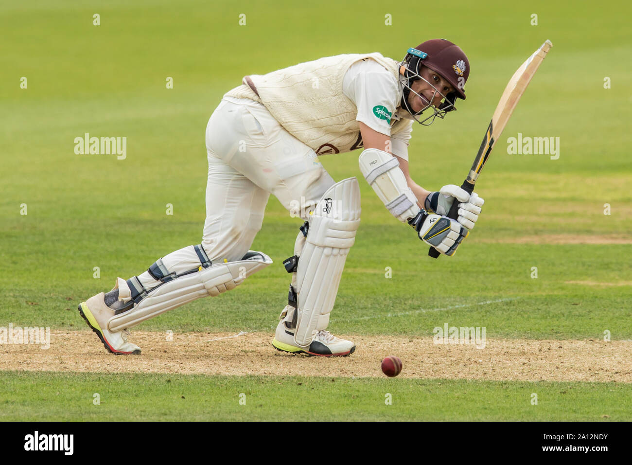 London, UK. 23 September, 2019. Scott Borthwick batting for Surrey against Nottinghamshire on day one of the Specsavers County Championship game at the Oval. David Rowe/Alamy Live News Stock Photo