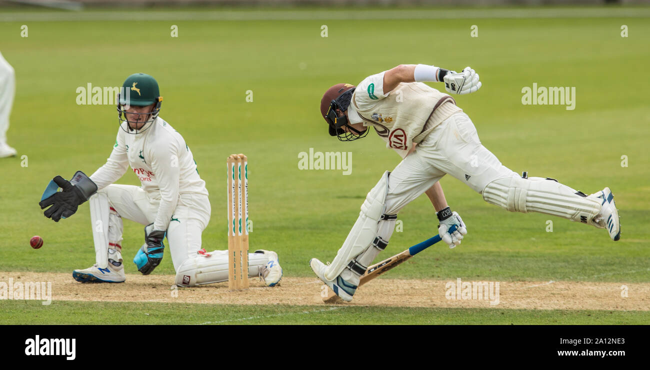 London, UK. 23 September, 2019. Ollie Pope makes his ground batting for Surrey against Nottinghamshire on day one of the Specsavers County Championship game at the Oval. David Rowe/Alamy Live News Stock Photo