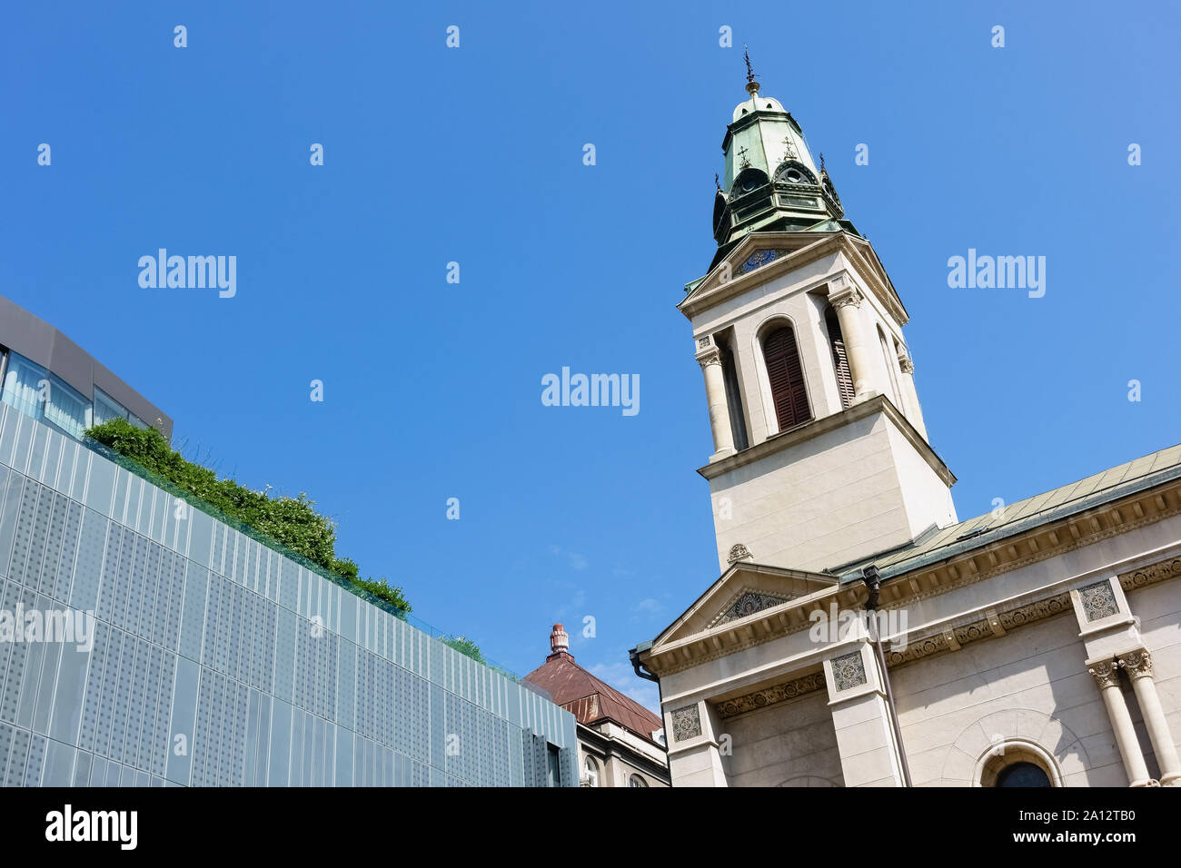 Cathedral Of The Transfiguration Of The Lord Serbian Orthodox Cathedral Croatian Church Bell Tower Zagreb Croatia Europe Eu Copy Space Blue Sky Stock Photo Alamy