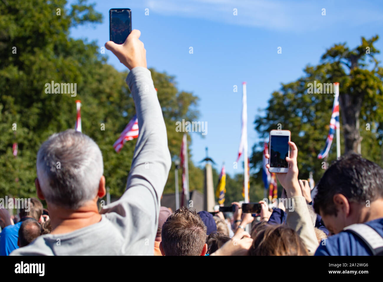 Ede, Netherlands, September 19, 2019: Visitors watching WWII memoral 75 years remembrance of Operation Market Garden WOII Arnhem in the Netherlands Stock Photo