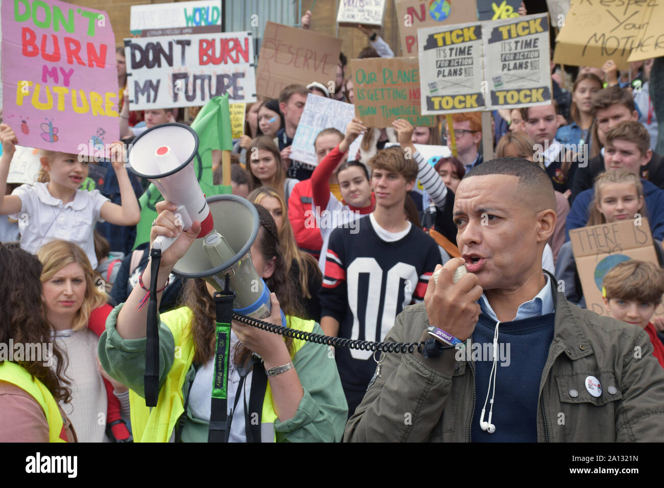School Strike for Climate, Norwich, UK, Friday 20 September 2019 - Norwich South Labour MP Clive Lewis speaking Stock Photo