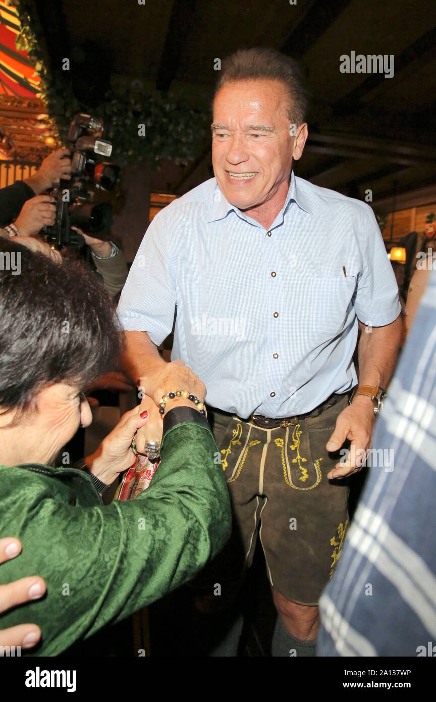 Arnold Schwarzenegger during the Oktoberfest 2019 at Theresienwiese on September 22, 2019 in Munich, Germany Stock Photo