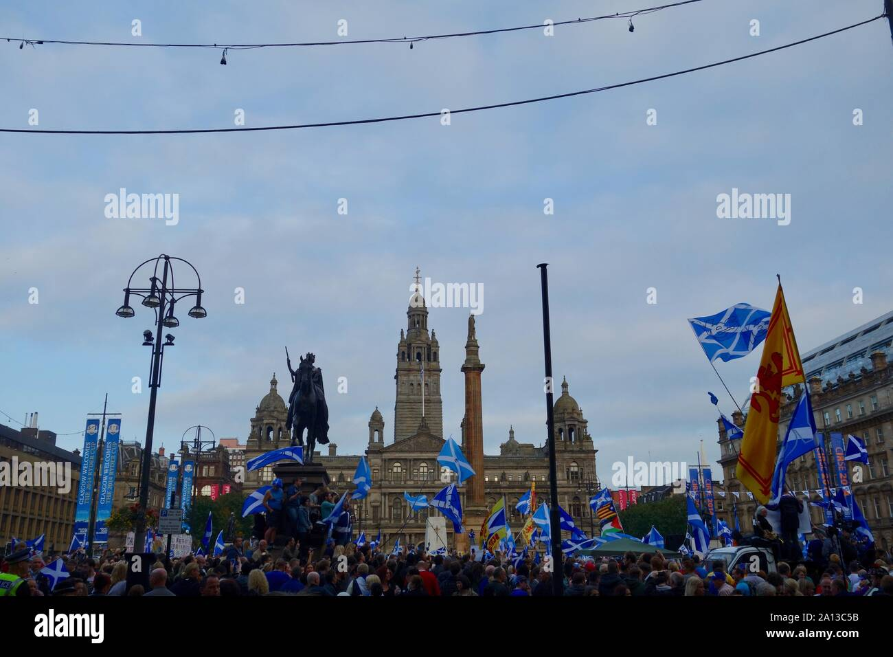 Day before the 2014 Scottish Independence Referendum. Scottish Independence Rally, George Square, Glasgow. Stock Photo