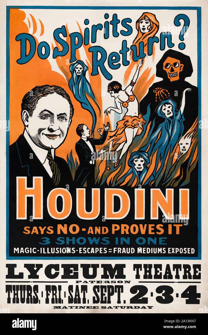 A theatre poster for Harry Houdini's performance at the Lyceum theatre in London. Stock Photo