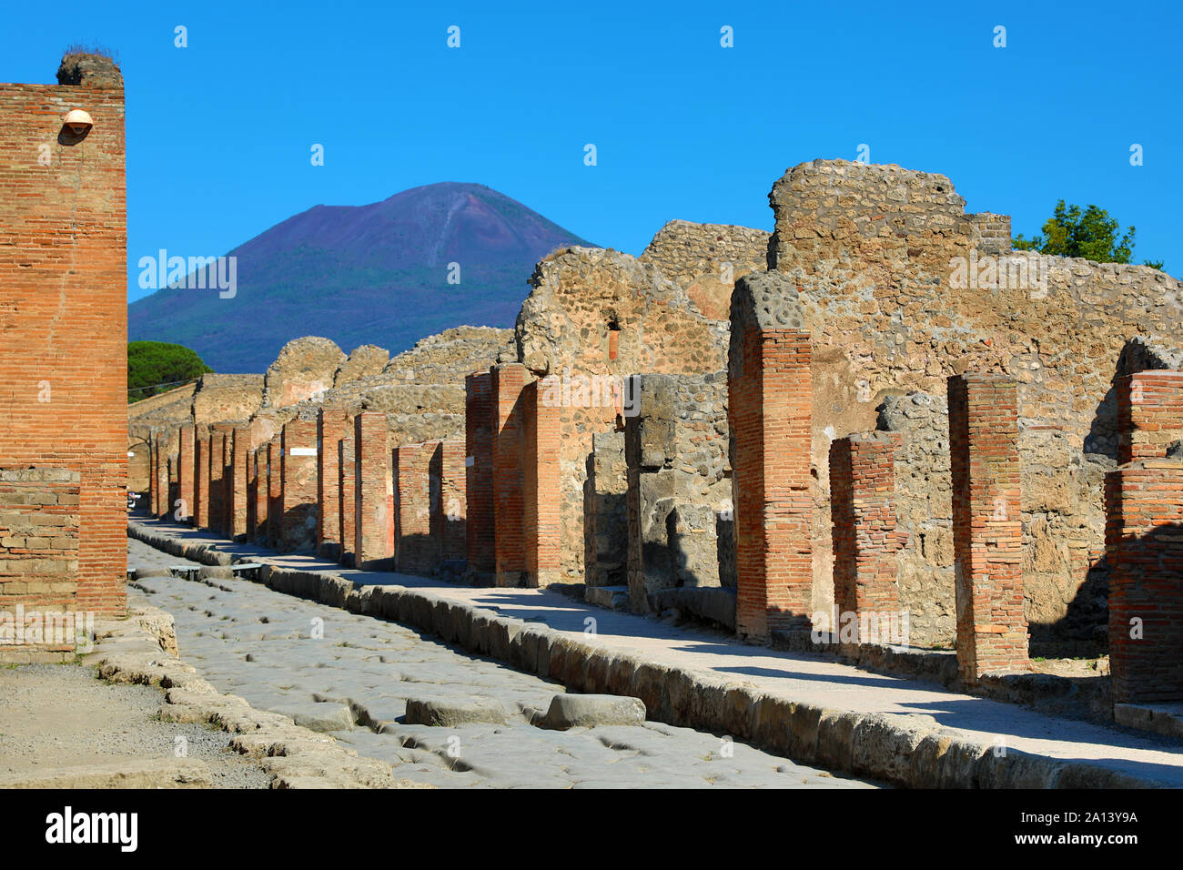 Street and ruins of houses in the ancient Roman city of Pompeii, Italy Stock Photo