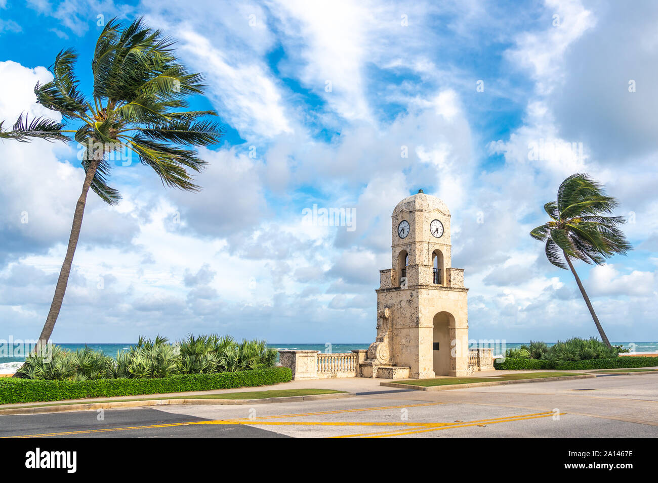Palm Beach the Worth Avenue clock tower Florida USA Stock Photo