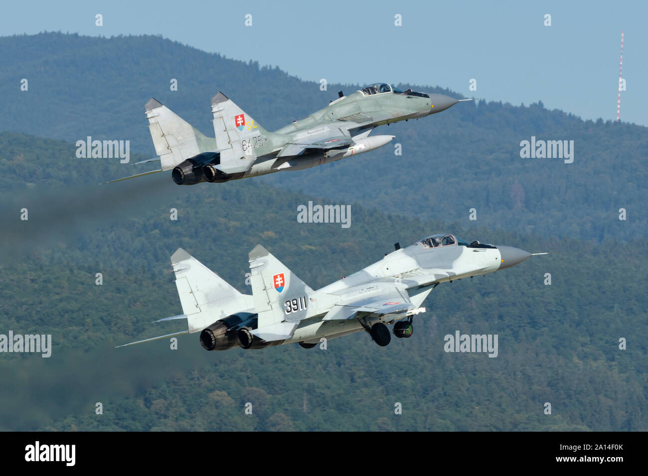 A pair of Slovak Air Force MiG-29AS scrambling for quick reaction alert mission. Stock Photo