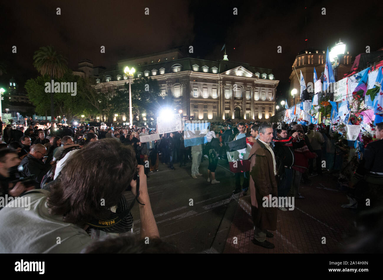 Buenos Aires, Argentina - October 27 2010: Nestor Kirchner dies in Argentina, argentinians pay tribute to the former President Nestor Kirchner in the Stock Photo