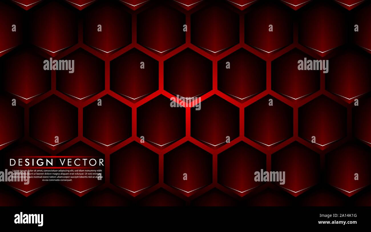 Abstract Red Banner On Black Hexagon Pattern Design Modern Futuristic Background Vector Illustration Stock Vector Image Art Alamy