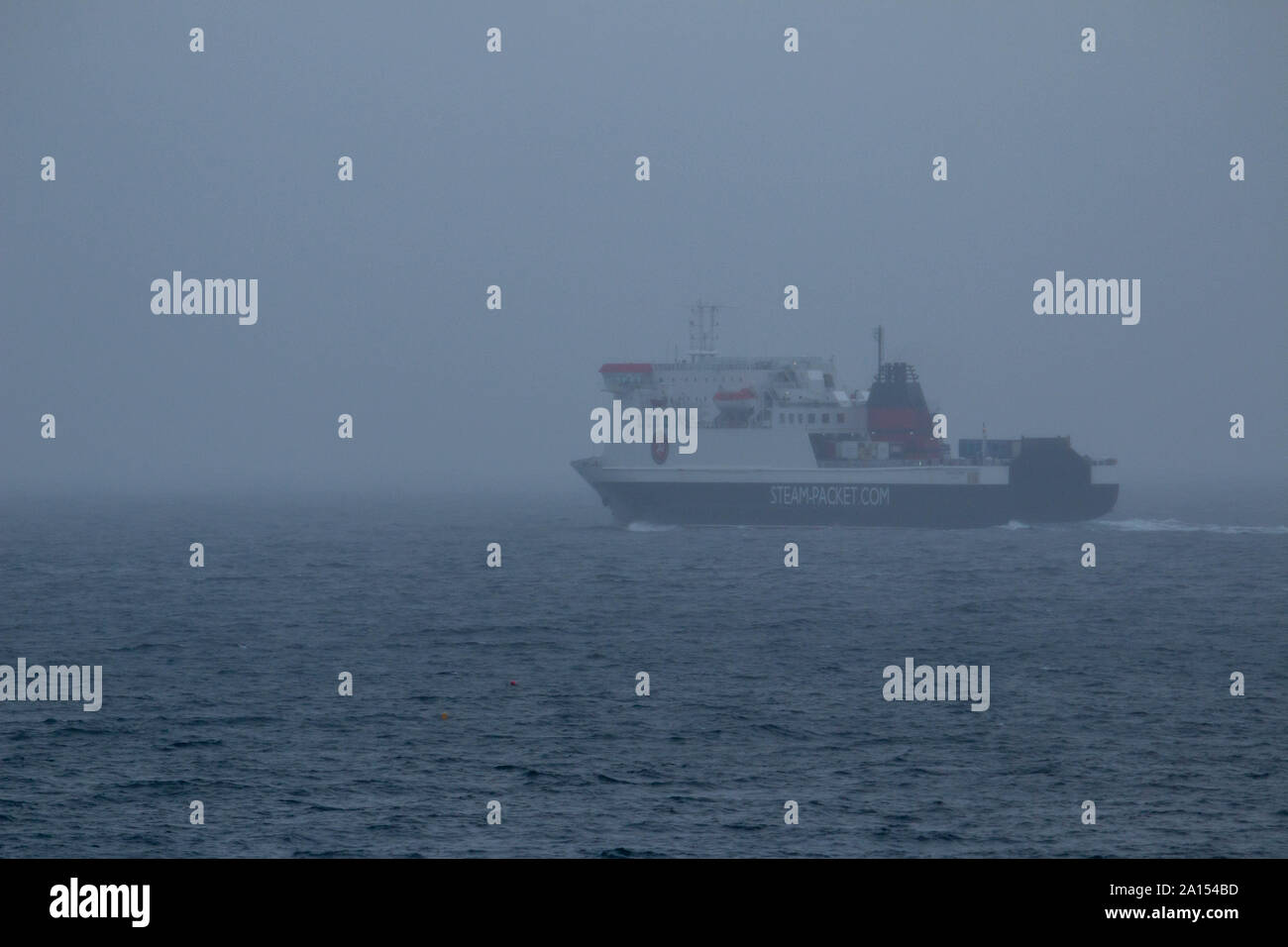 Douglas Isle Of Man 24th September 2019 Isle of Man Ferry Ben My Chree leaves Douglas for Heysham before disappearing into the mist Credit: Photographing North/Alamy Live News Stock Photo