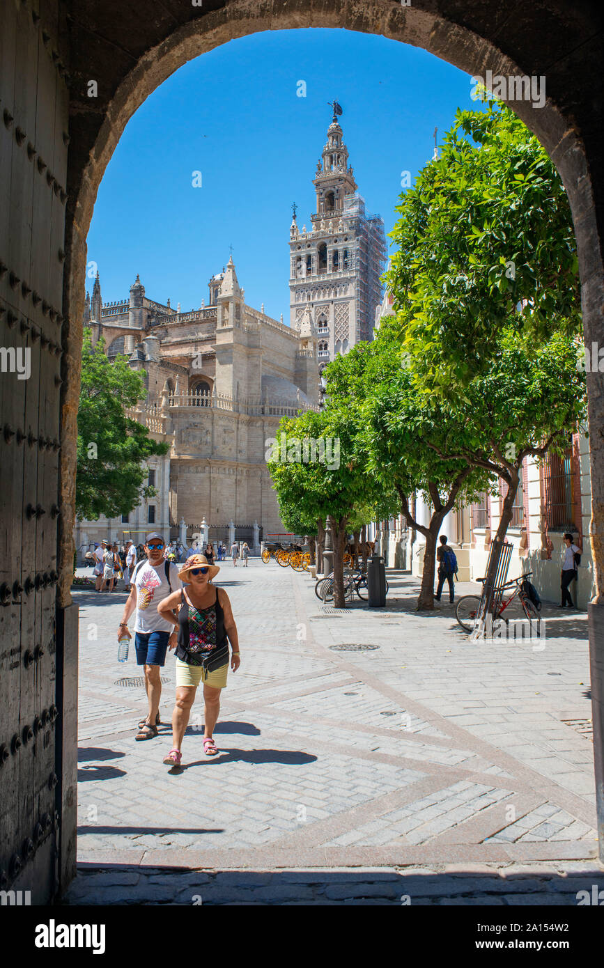 Giralda Seville, view of the 12th century Moorish tower known as La Giralda in the center of the Old City Quarter of Seville, Andalucia, Spain Stock Photo
