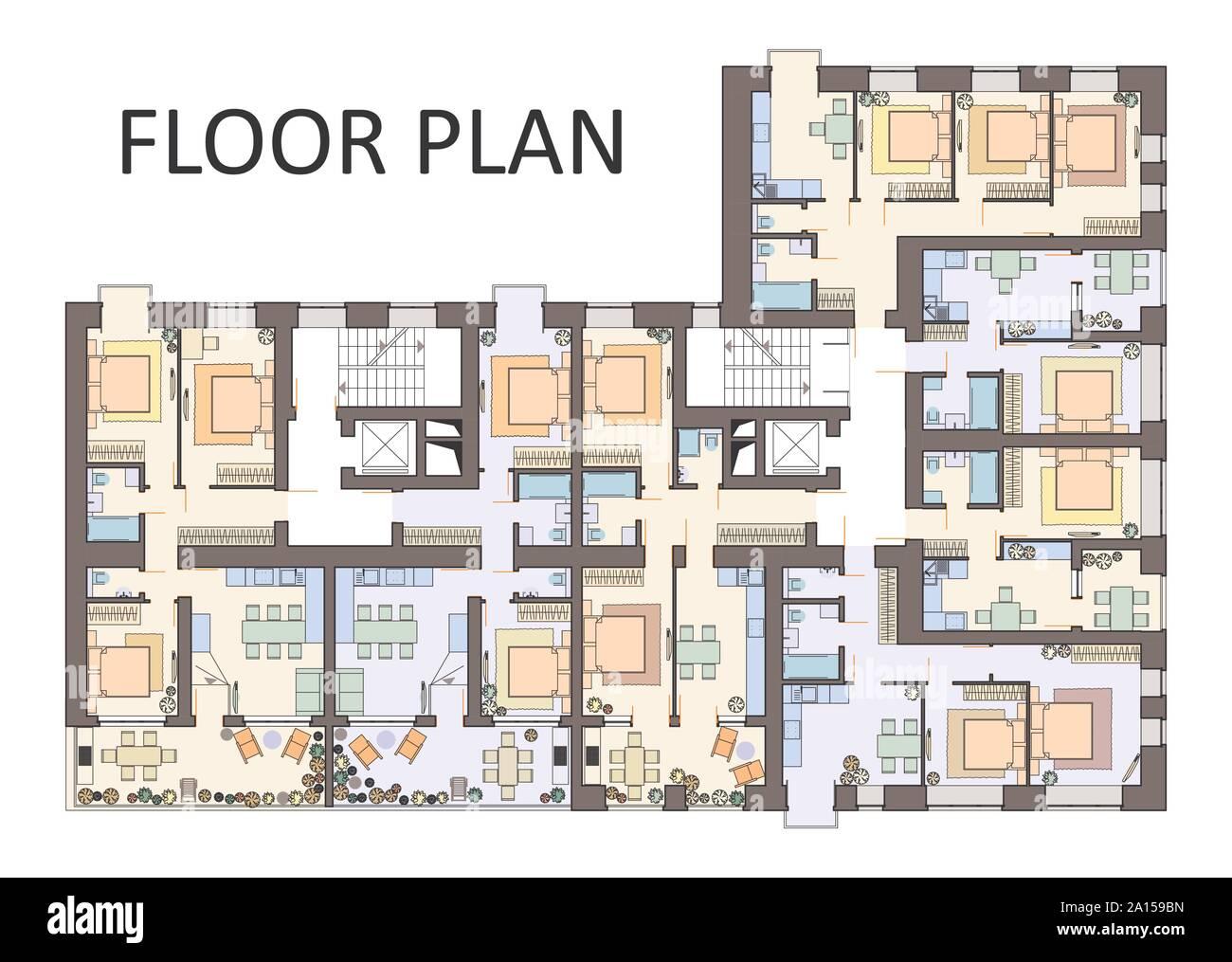 Detailed Architectural Floor Plan Apartment Layout Blueprint Vector Illustration Stock Vector Image Art Alamy