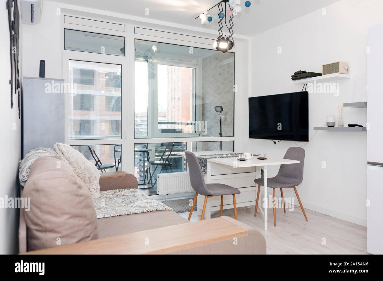 Minimalist Modern Living Room With Sofa In Light Minimalist