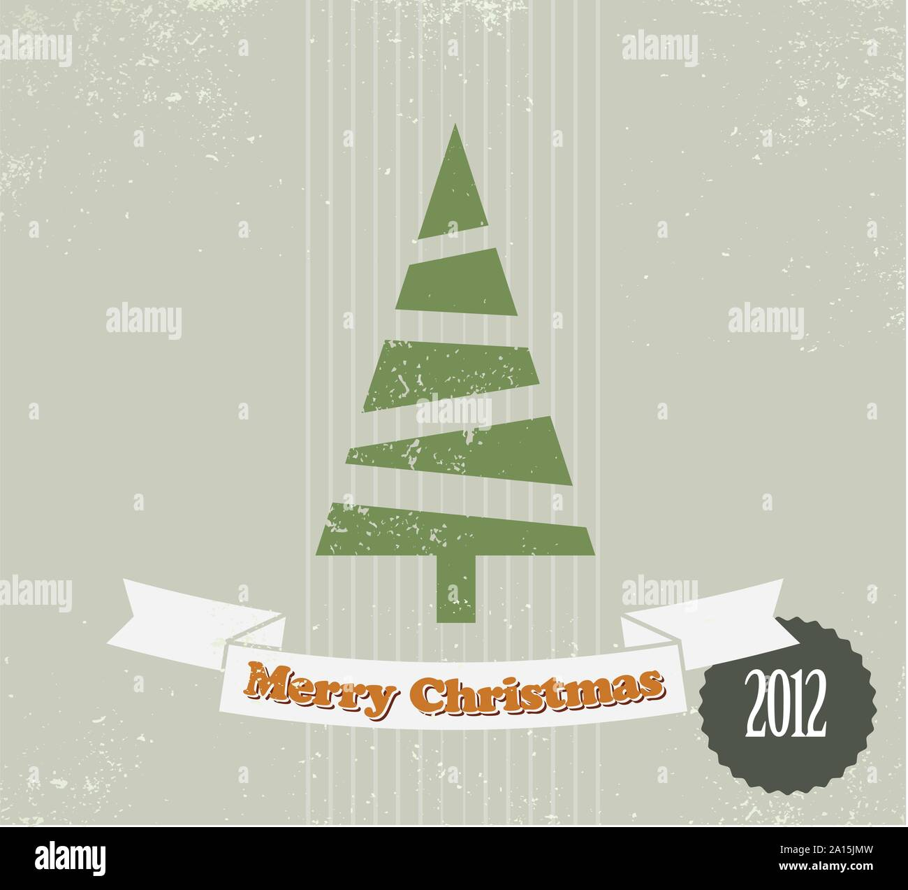 Simple Vintage Vector Retro Christmas Card With Christmas Tree Stock Vector Image Art Alamy
