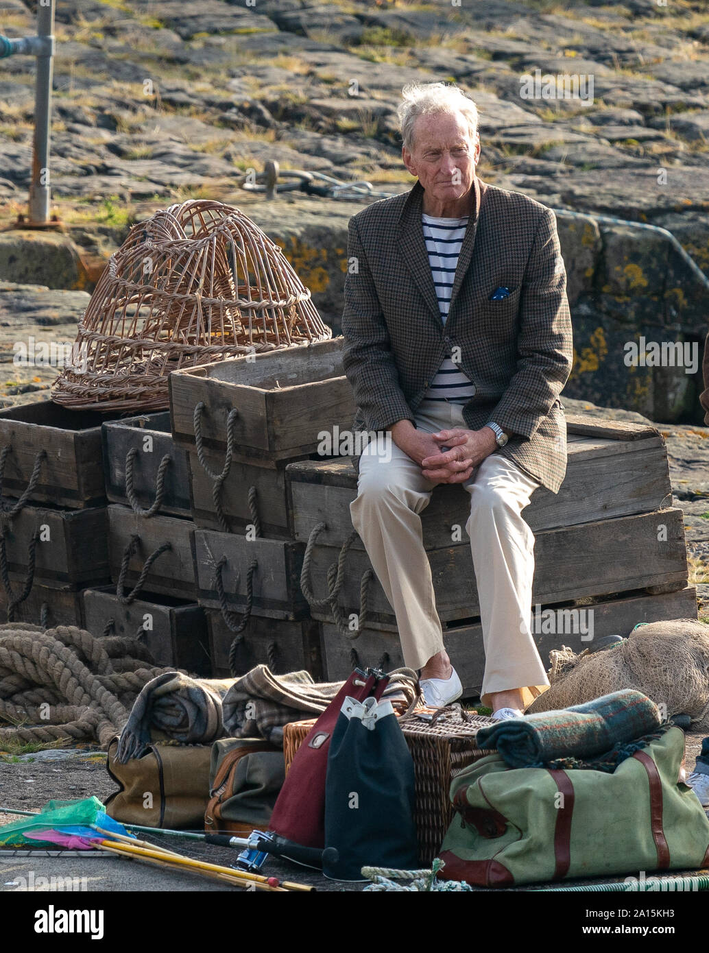22 September 2019. Keiss Harbour, Highlands, Scotland, UK. This is a scene from the filming of The Crown re the Lord Mountbatten Murder in Ireland. Stock Photo