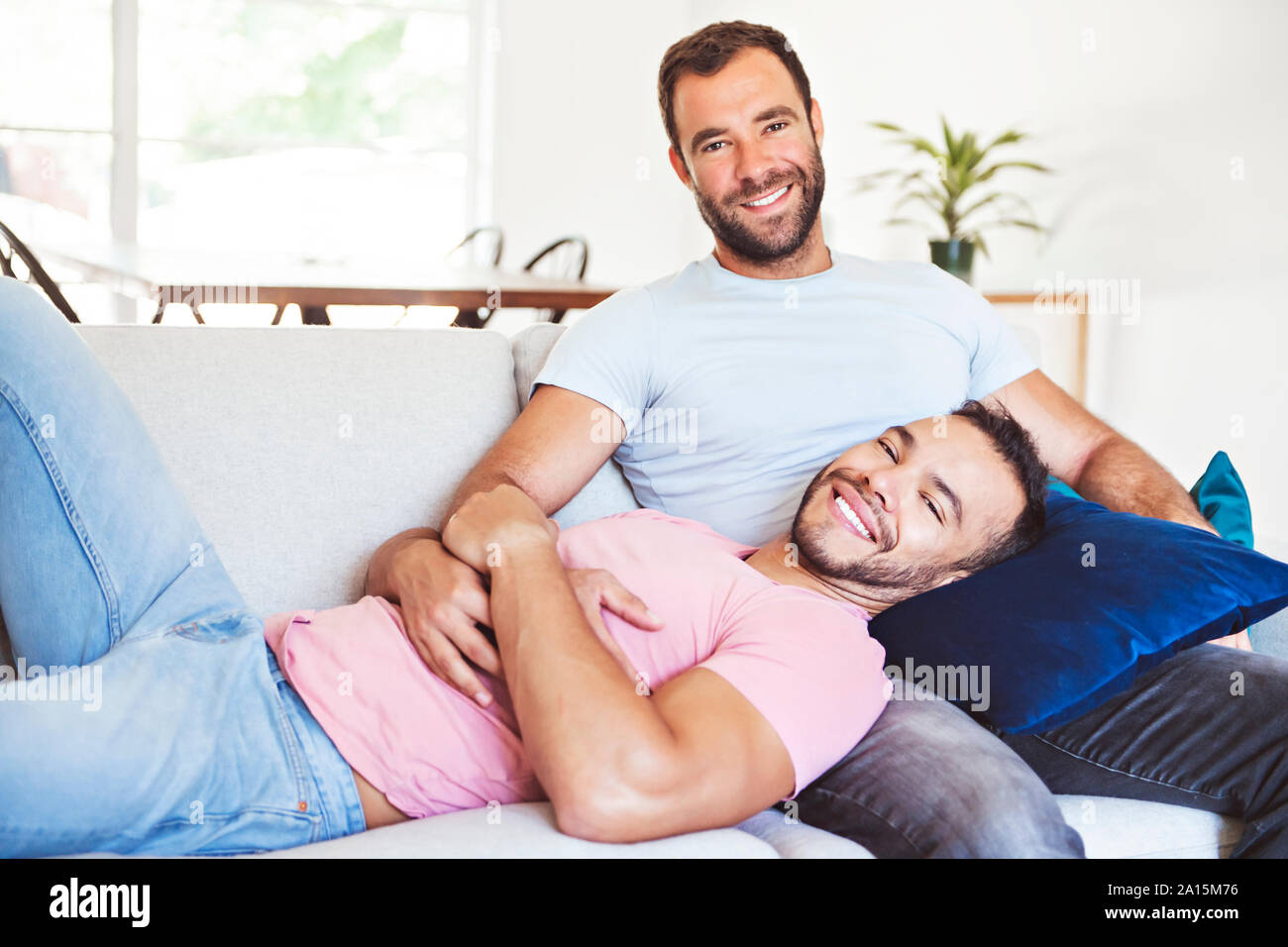 A Portrait of a Cute Male gay Couple at Home Stock Photo - Alamy