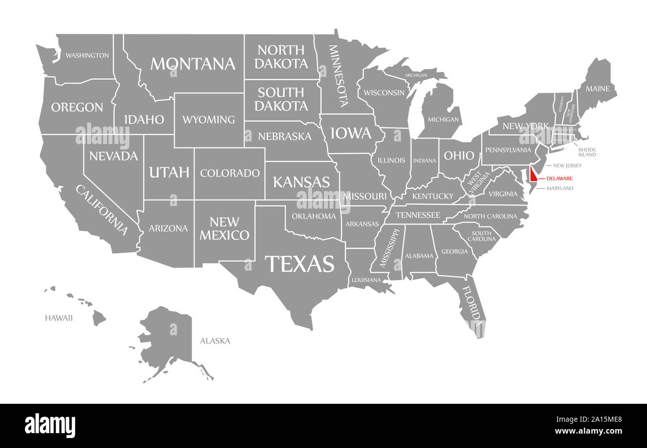 Delaware Red Highlighted In Map Of The United States Of America Stock Photo Alamy