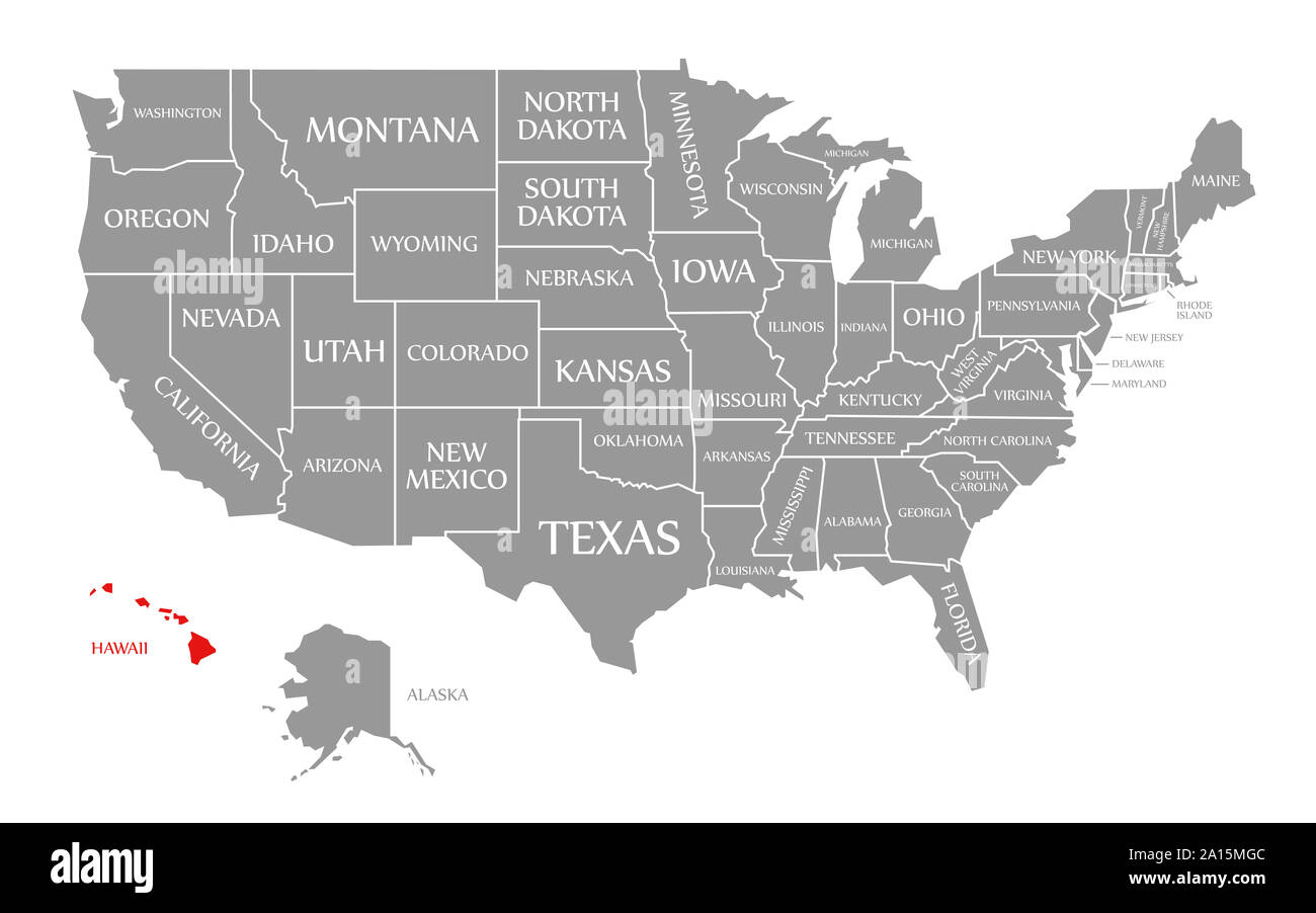 Picture of: Hawaii Red Highlighted In Map Of The United States Of America Stock Photo Alamy