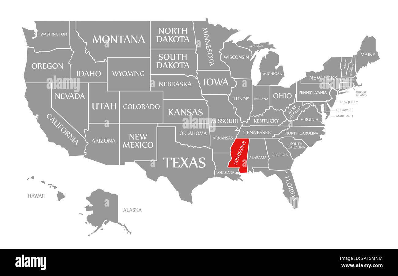 Mississippi On Us Map Mississippi red highlighted in map of the United States of America