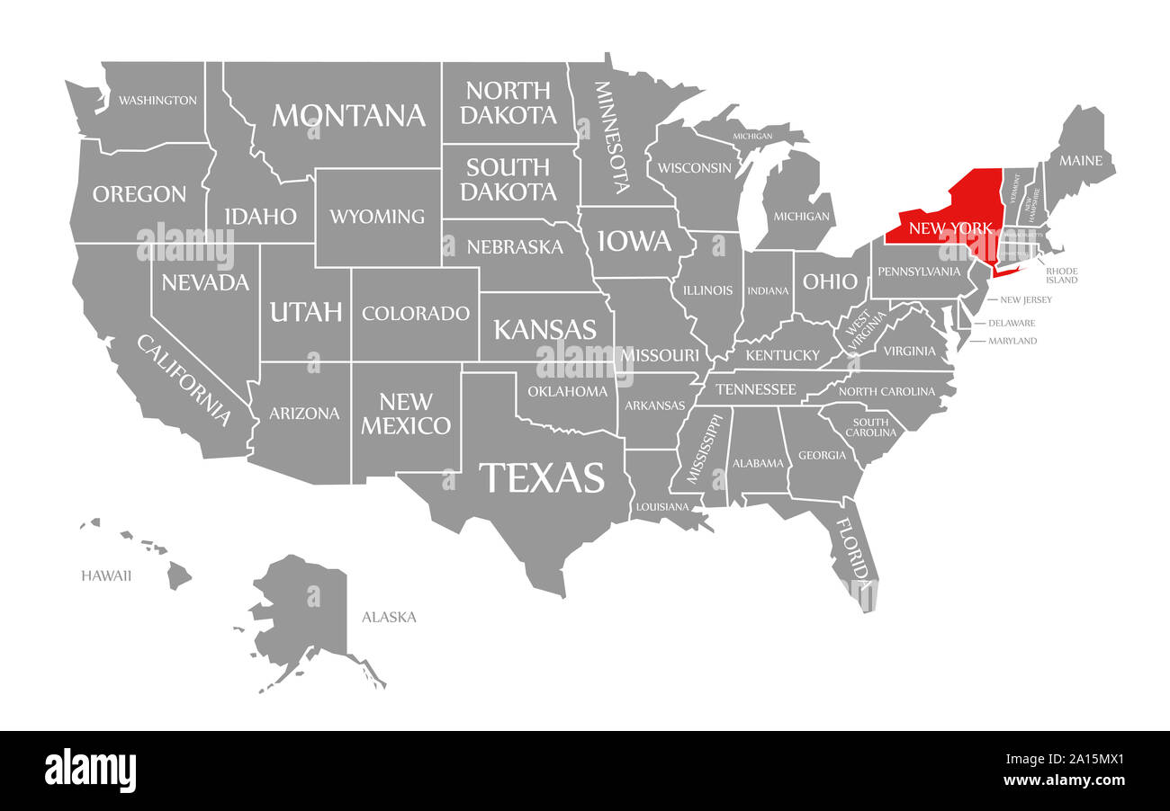 Us Map Of New York New York red highlighted in map of the United States of America