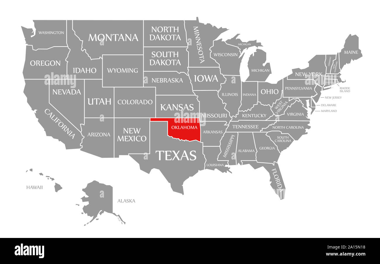 oklahoma united states map Oklahoma red highlighted in map of the United States of America