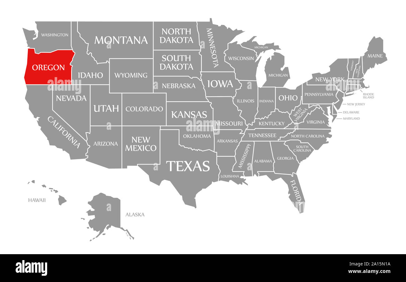 Oregon In Us Map Oregon red highlighted in map of the United States of America