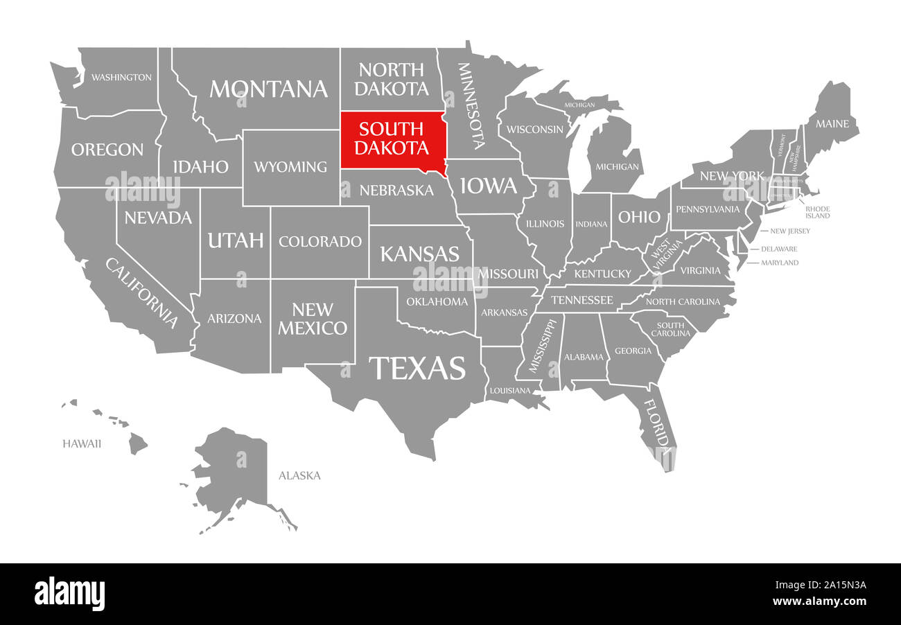 South Dakota Us Map South Dakota red highlighted in map of the United States of