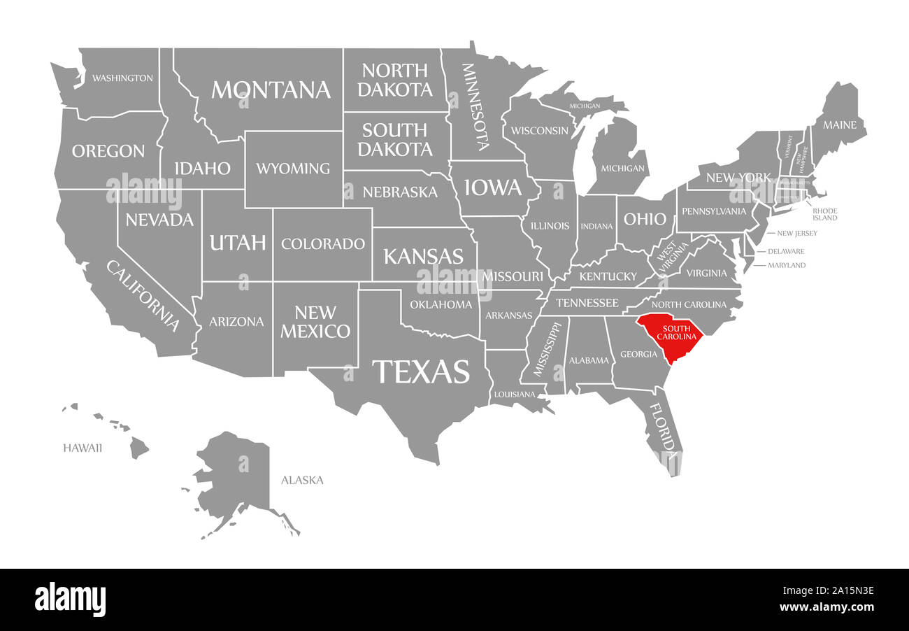 united states map south carolina South Carolina Red Highlighted In Map Of The United States Of